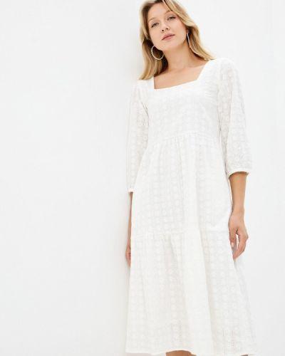 Прямое белое платье А-силуэта Unq