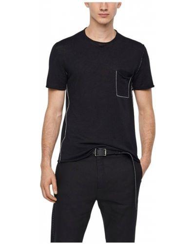 Lniany czarny t-shirt krótki rękaw Sarah Pacini