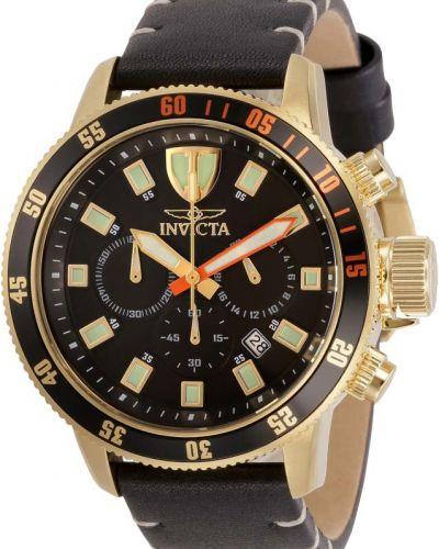 Черные с ремешком кожаные часы на кожаном ремешке Invicta