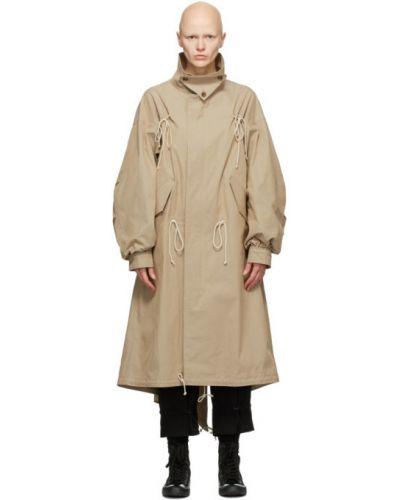 Beżowy z rękawami długo płaszcz z kieszeniami z kołnierzem Regulation Yohji Yamamoto
