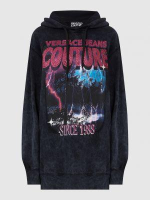 Худи с принтом - серое Versace Jeans Couture