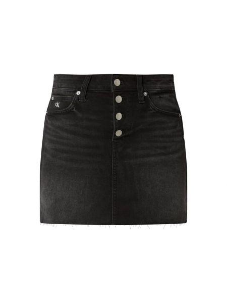 Bawełna bawełna czarny dżinsowa spódnica z paskami Calvin Klein Jeans