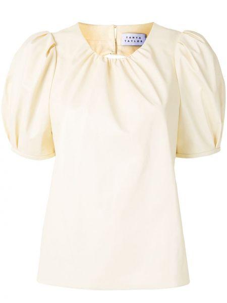 С рукавами белая блузка с вырезом Tanya Taylor
