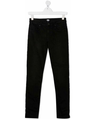 Хлопковые классические черные джинсы с поясом Karl Lagerfeld Kids