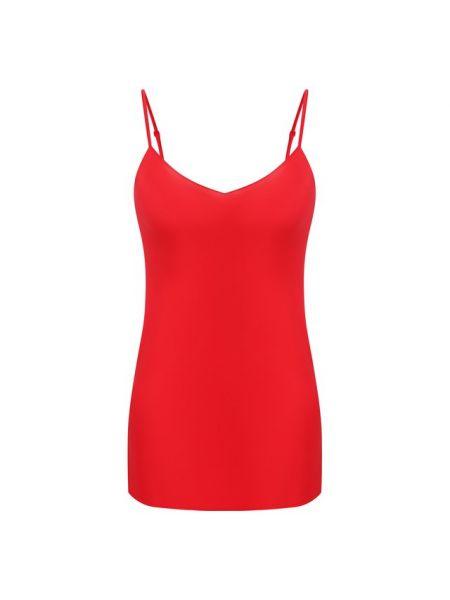 Шелковый красный клубный топ с V-образным вырезом Cotton Club