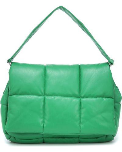 Зеленый клатч из натуральной кожи Stand Studio