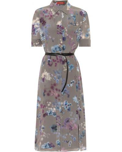 Шелковое серое платье миди с поясом Altuzarra