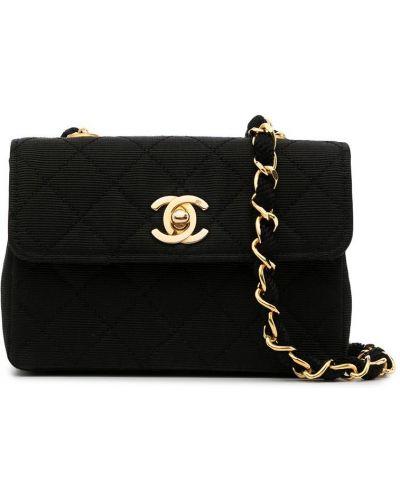 Стеганая черная сумка через плечо винтажная Chanel Pre-owned