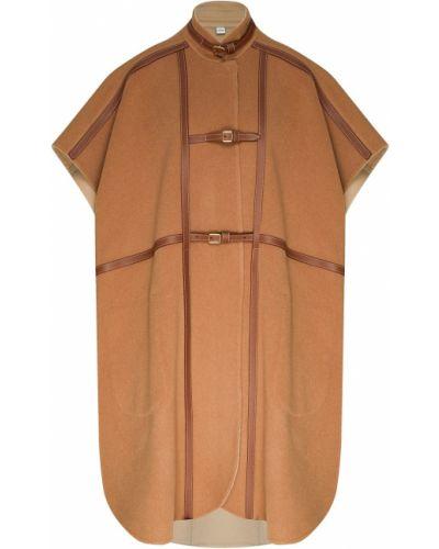 Кожаное пальто оверсайз бежевое Burberry