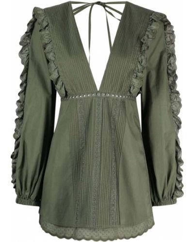 Зеленое платье мини с оборками с вырезом Wandering