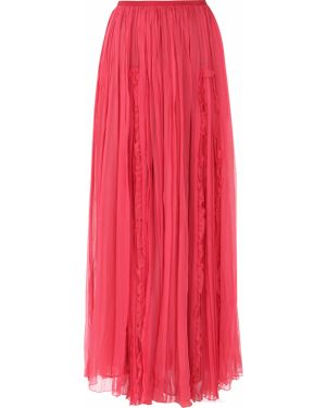 Шелковая ажурная с завышенной талией юбка макси с оборками John Galliano