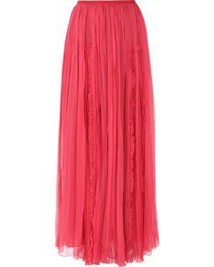 Шелковая юбка макси - красная John Galliano