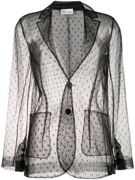 Однобортный черный удлиненный пиджак с карманами Redvalentino