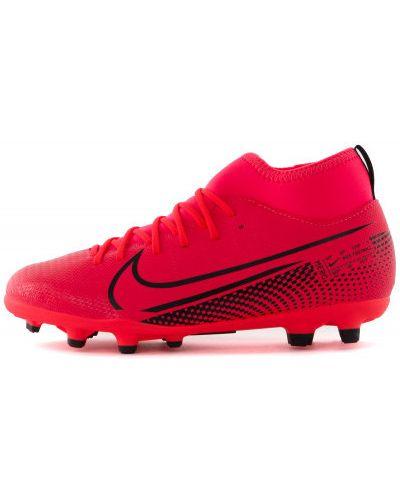 Кожаные красные футбольные бутсы Nike