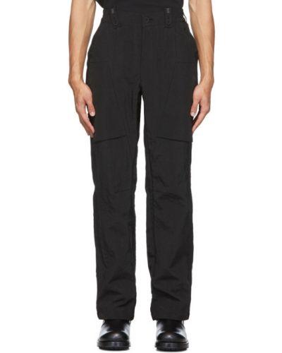 Czarne spodnie z nylonu zapinane na guziki Blackmerle