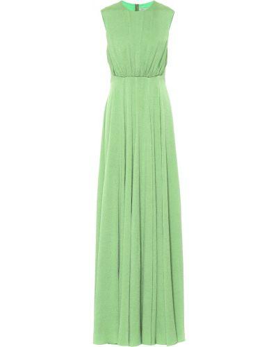 Зеленое шелковое платье макси с оборками Emilia Wickstead