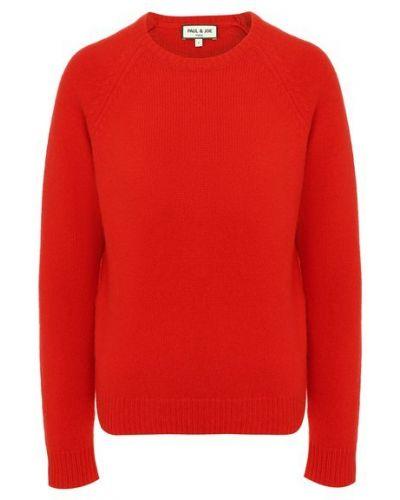 Мягкий красный трикотажный пуловер Paul&joe