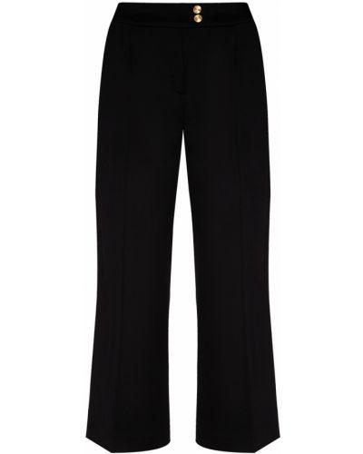 Шерстяные черные укороченные брюки с карманами Chapurin