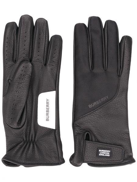 Skórzany rękawiczki prążkowany czarny Burberry