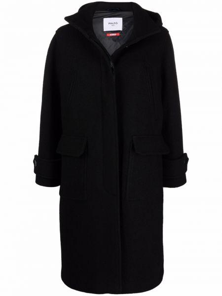 Czarny długi płaszcz z kapturem Palto