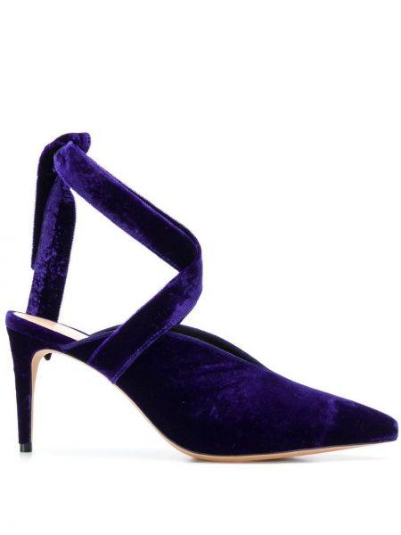 Кожаные фиолетовые туфли-лодочки с острым носом Alexandre Birman