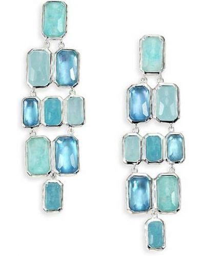 Синие серьги-гвоздики с жемчугом прямоугольные Ippolita