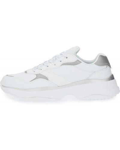 Кожаные белые кроссовки на шнуровке Demix