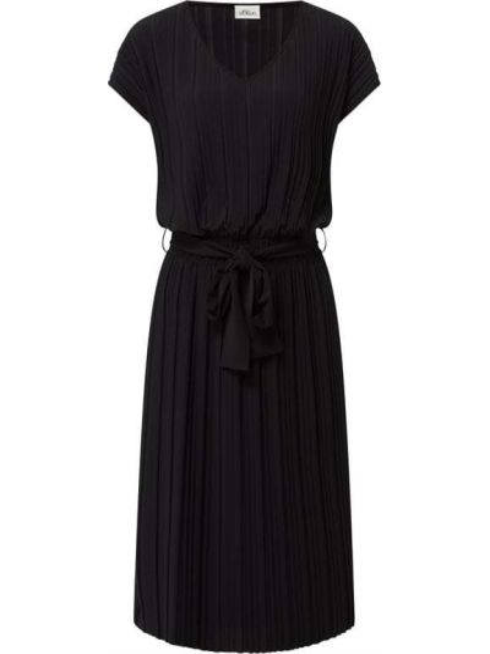 Sukienka midi prążkowana - czarna S.oliver Black Label