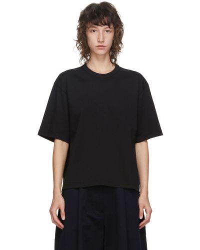 Хлопковая с рукавами черная рубашка с коротким рукавом с воротником Studio Nicholson