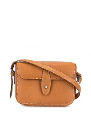 Золотистая кожаная коричневая поясная сумка с пряжкой Gucci Pre-owned