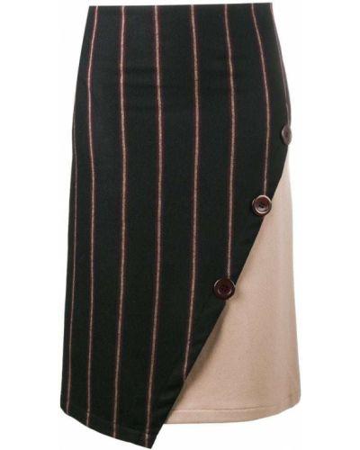 Черная ажурная асимметричная юбка карандаш с рукавом 3/4 Jour/né