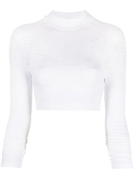 Biały z rękawami koszula Fendi