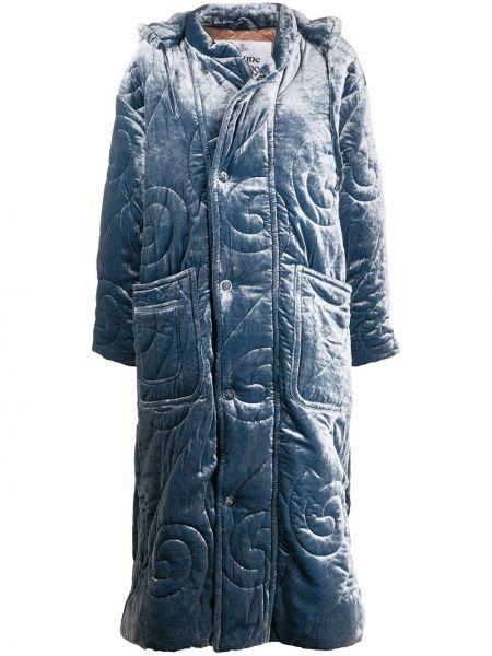 Бархатный пуховик оверсайз с капюшоном Vivienne Westwood