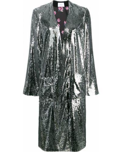 Черное длинное пальто с капюшоном с пайетками Racil