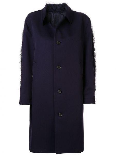 Синее шерстяное пальто классическое с капюшоном Undercover