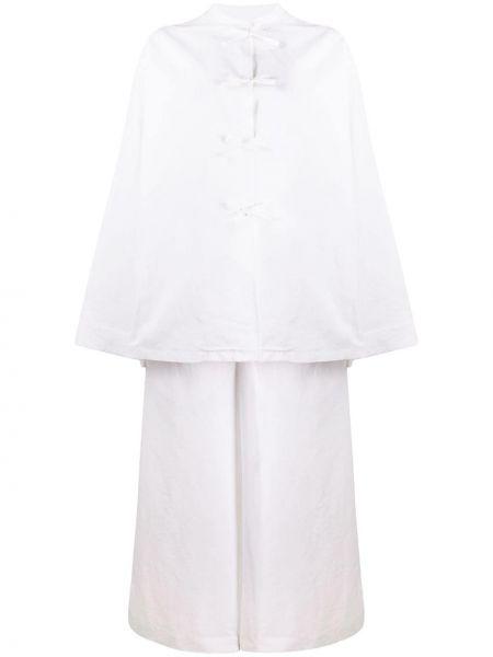 Свободный шелковый белый костюм Jil Sander