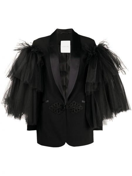 Черный пиджак с вышивкой с лацканами Loulou