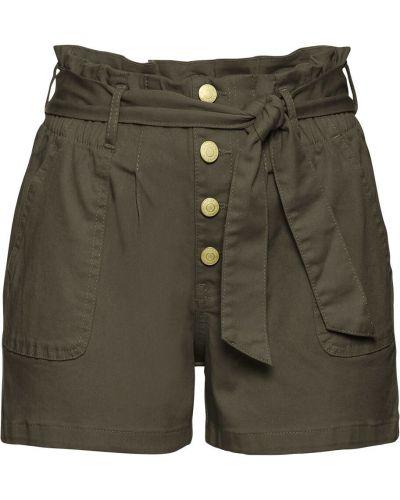 Зеленые брюки с высокой посадкой с оборками Bonprix