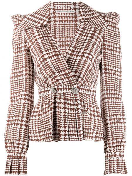 Белый пиджак твидовый двубортный Alessandra Rich