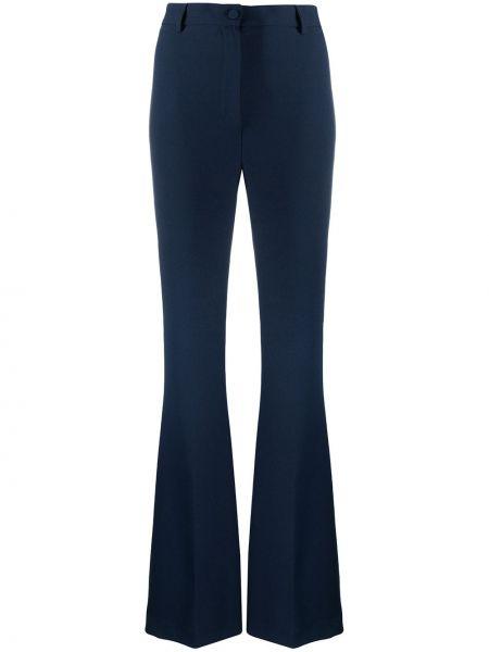 Синие расклешенные брюки на пуговицах с высокой посадкой Hebe Studio