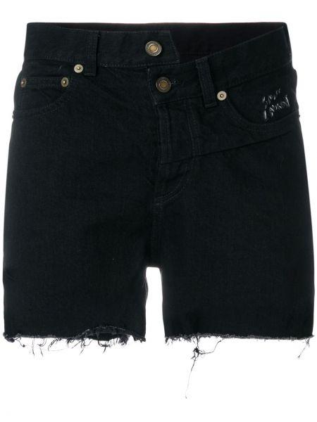 Джинсовые шорты черные с карманами Saint Laurent