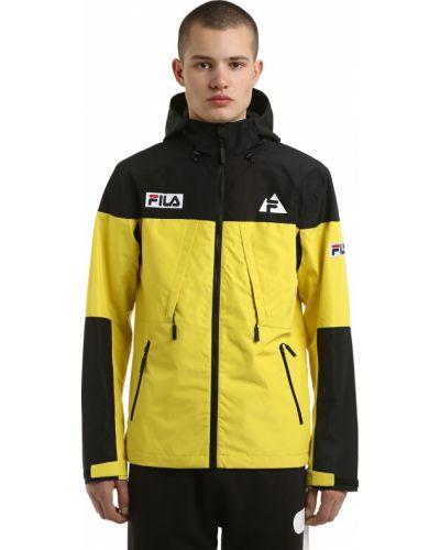 Żółta kurtka z kapturem z nylonu Fila Urban