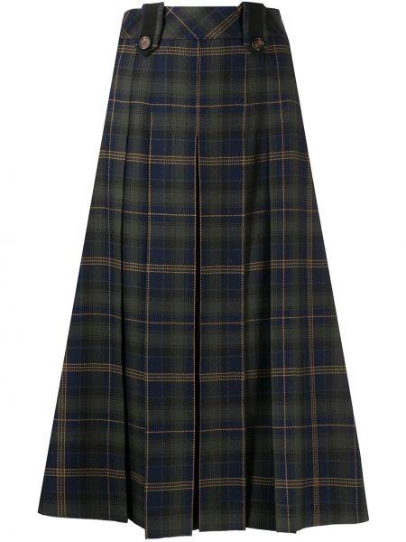 Плиссированная зеленая акриловая с завышенной талией юбка миди Mulberry