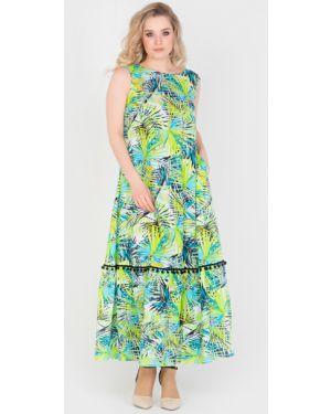 Летнее платье из штапеля с карманами без рукавов свободного кроя Filigrana