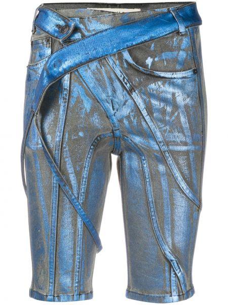 Синие хлопковые шорты с карманами Ottolinger