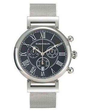 Часы механические водонепроницаемые с черным циферблатом Romanson