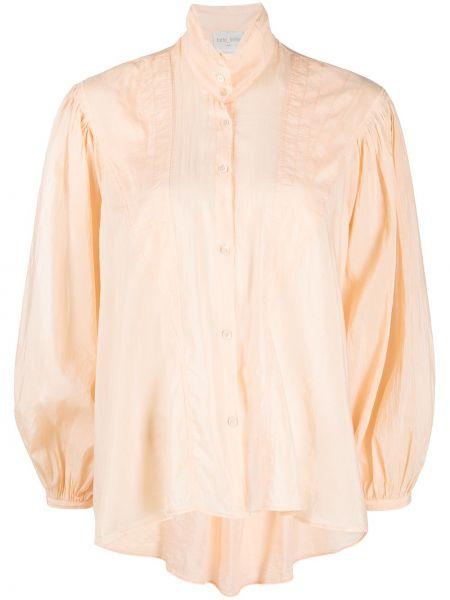 Персиковая с рукавами шелковая блузка Forte Forte