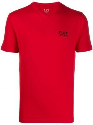 Прямая красная хлопковая футболка с короткими рукавами Ea7 Emporio Armani