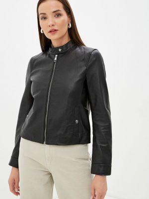 Черная кожаная куртка Tommy Hilfiger