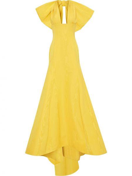 Желтое платье макси оверсайз с вырезом Oscar De La Renta